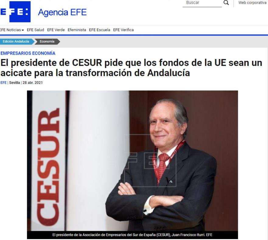 El presidente de CESUR pide que los fondos de la UE sean un acicate para la transformación de Andalucía