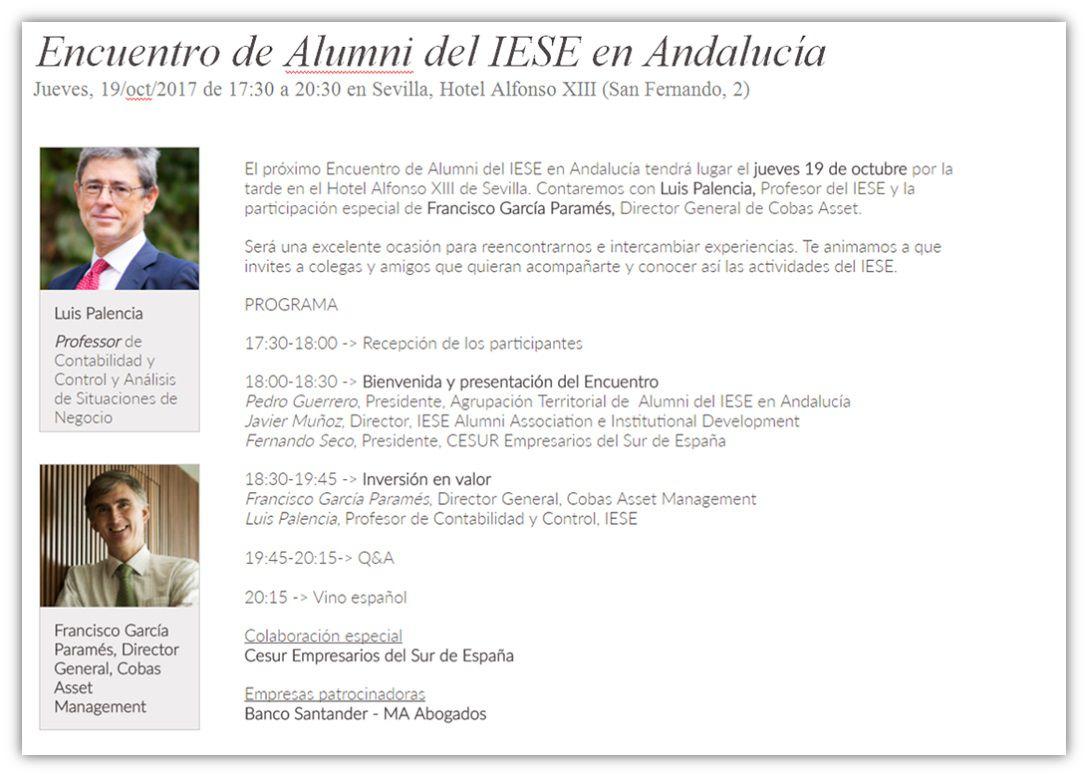 IESE y CESUR organizan el encuentro Alumni IESE Andalucía
