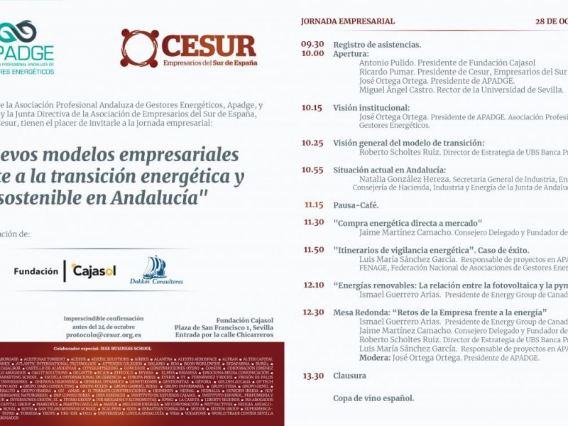 Jornada empresarial: Nuevos modelos empresariales frente a la transición energética y sostenible en Andalucía.
